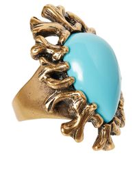Oscar de la Renta | Metallic Turquoise Coral Branch Resin Ring | Lyst