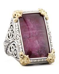 Konstantino | Metallic Rectangle Silver 18k Gold Rubyquartz Ring | Lyst