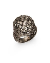 Slane | Metallic Sterling Silver Basketweave Ring | Lyst