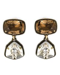 Lanvin | Metallic Crystal Stone Clip-on Earrings | Lyst