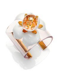 Tory Burch - White Courtlyn Floral Cuff Bracelet - Lyst