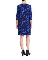 Ellen Tracy | Blue Floral Print Shift | Lyst