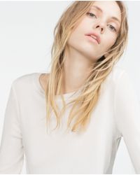 Zara | Natural Knit Sweater | Lyst