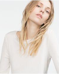 Zara | Natural Knit Sweater | Lyst