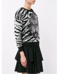 Saint Laurent - Red Tiger Intarsia Wool And Mohair Sweater - Lyst