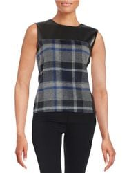 Calvin Klein - Gray Leatherette And Plaid Shell - Lyst