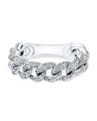 Anne Sisteron | 14kt White Gold Diamond Thin Chain Link Ring | Lyst