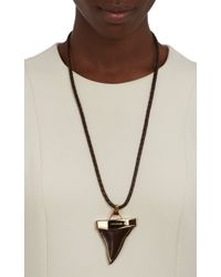 Givenchy - Metallic Braided Leather Bolo Tie Necklace With Shark'S Tooth Pendant - Lyst