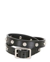 Saint Laurent | Black Studded Leather Double Wrap Bracelet | Lyst