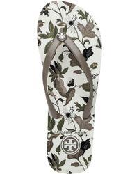 Tory Burch - Gray Floral-Print Flip-Flops - Lyst