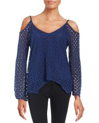 Lord & Taylor | Blue Crocheted Cold-shoulder Top | Lyst