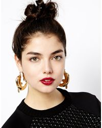 ASOS - Metallic Dolphin Hoop Earrings - Lyst