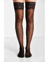 Urban Outfitters | Black Polka Dot Nylon Thigh High Stocking | Lyst