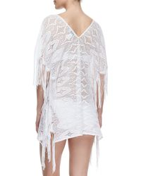 Miguelina - White Taylor Fringe-trim Lace Coverup - Lyst