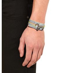 Alexander McQueen | Gray Wraparound Leather Bracelet for Men | Lyst