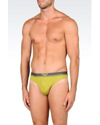 Emporio Armani | Green Microfiber Thong for Men | Lyst