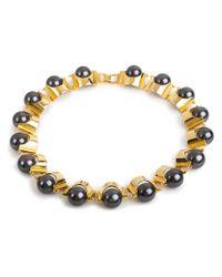 Lele Sadoughi | Metallic Groove Necklace, Hematite | Lyst