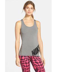 Nike - Gray 'pro' Dri-fit Logo Tank - Lyst
