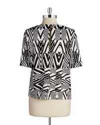 Calvin Klein | Black Patterned Scuba Top | Lyst