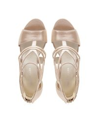 Karen Millen | Metallic Pearlised Leather Sandal | Lyst