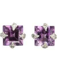 Cathy Waterman | Purple Women's Square Studs | Lyst