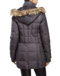 Betsey Johnson | Gray Hooded Faux Fur Trim Puffer Coat | Lyst