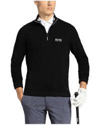 BOSS Green - Black Sweater 'zayo_mk' In Cotton Blend for Men - Lyst
