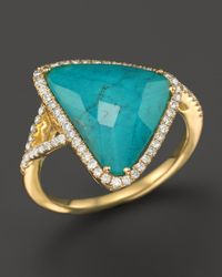 Meira T - Blue 14K Yellow Gold Turquoise And White Topaz Doublet Triangle Ring With Diamonds - Lyst
