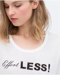 Zara | White Sequin Text T-shirt | Lyst