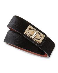 Givenchy | Metallic Calf Hair Shark-lock Wrap Bracelet | Lyst