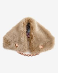 Ted Baker | Natural Faux Fur Textured Collar | Lyst