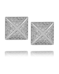 Kenneth Jay Lane | Metallic Rhodium-plated Crystal Earrings | Lyst