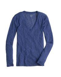 J.Crew - Blue Tissue Long-sleeve V-neck T-shirt - Lyst