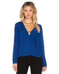 Krisa - Blue Long Sleeve Surplice Top - Lyst
