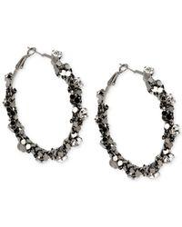 Steve Madden | Black Hematite-Tone Crystal Chain-Wrapped Hoop Earrings | Lyst