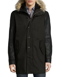 John Varvatos - Black Button-down Parka With Faux-fur Lined Hood - Lyst