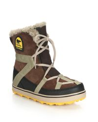 Sorel | Brown Glacy Explorer Faux Fur-trimmed Suede & Canvas Boots | Lyst