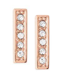 Fossil - Pink Rose Goldtone Crystal Bar Stud Earrings - Lyst