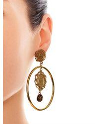 Dolce & Gabbana - Metallic Heritage Madonna Hoop Earrings - Lyst