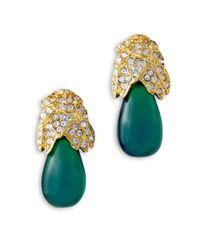 Kenneth Jay Lane | Green Emerald Drop Clip Earring | Lyst