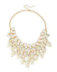 Fragments - Metallic Crystal Leaf Bib Necklace - Lyst