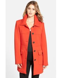 Vince Camuto | Red Single Breasted Ponte Knit Coat | Lyst