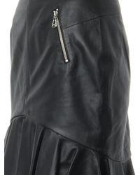 McQ - Black Frill-hem Leather Skirt - Lyst
