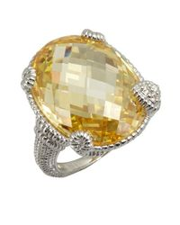 Judith Ripka - Metallic Canary Crystal And White Sapphire Oval Single Heart Ring - Lyst