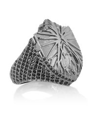 Harlot & Bones - Gray Shield Poison Rhodium-Plated Marcasite Ring - Lyst