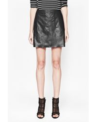 French Connection - Black Jetson Leather Skirt - Lyst