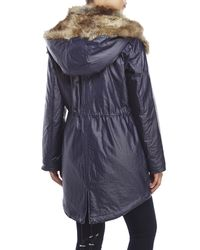 Marc New York - Blue Lauren Faux Fur Trim Anorak - Lyst