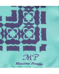 Mp Massimo Piombo - Blue Printed Silk Pocket Square for Men - Lyst