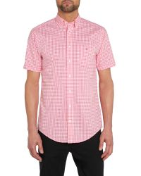 GANT - Pink Gingham Classic Fit Short Sleeve Shirt for Men - Lyst