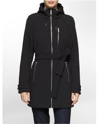 Calvin Klein - Black White Label Hooded Belted Trench Coat - Lyst